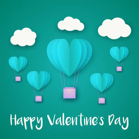 love Invitation card Valentines day balloon heart on abstract background