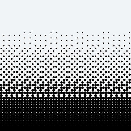 Black halftone dots on white background. Vetores