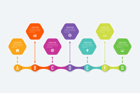 Business infographic template with 7 steps