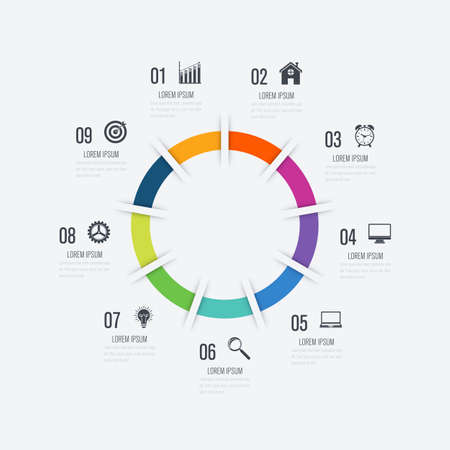 Infographics template 9 options with circle. Data and information visualization. Dynamic infographics stylish geometric. element for design business invitations, gift cards, flyers and brochures