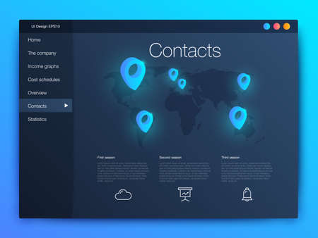 Dashboard infographic template with modern design annual statistics graphs. UI elements Illustration