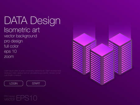 Development concept, technology neon isometric vector ui background