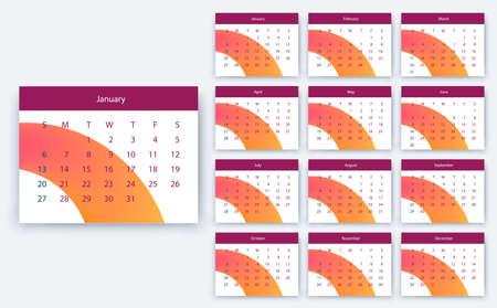 simple calendar 2019, Stock vector eps10. Color design Illustration