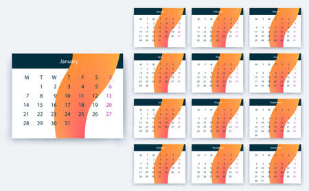 simple calendar 2019, Stock vector eps10. Color design 向量圖像