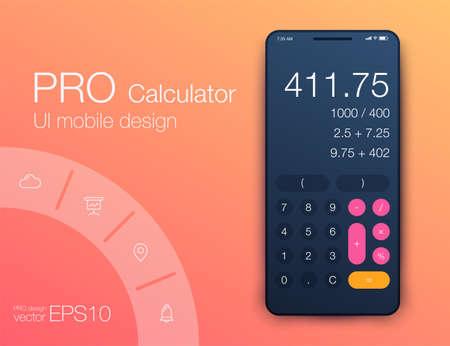 Smartphone con app calcolatrice, illustrazione moderna realistica di vettore.