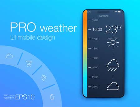 Weather Forecast App Ux Ui Design. Stock vector Vector Illustration