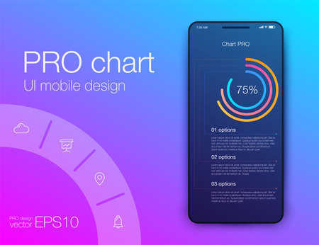 User interface with infographics with charts and graphs in flat design. Ui design