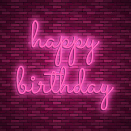 Neon light lettering, Stock vector. Happy birthday