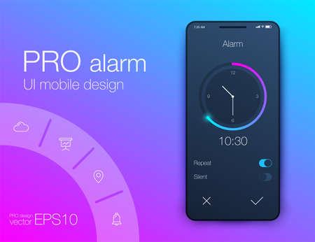 Vector Health And Fitness Smart Phone Application Featuring Taskbar, Step Counter Vecteurs