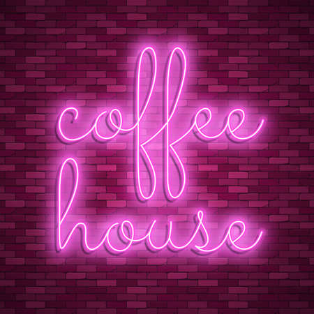 Neon light lettering, Stock vector. Coffee house Иллюстрация