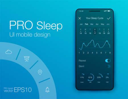 Applicazione per smartphone vettoriale salute e fitness con barra delle applicazioni, contapassi Vettoriali