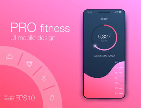 Fitness app. Ui ux design. UI design concept with web elements of workout application for mobile Ilustrace