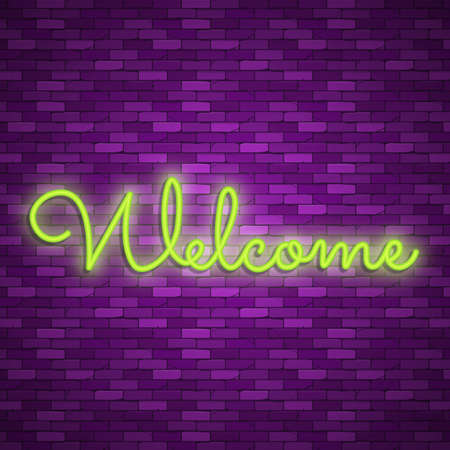 Neon light lettering, Stock vector. Welcome lettering