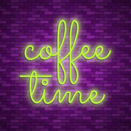 Neon light lettering, Stock vector. Coffee house Illustration