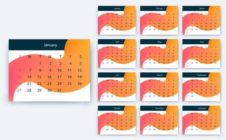 simple calendar 2019, Stock vector eps10. Color design Ilustração