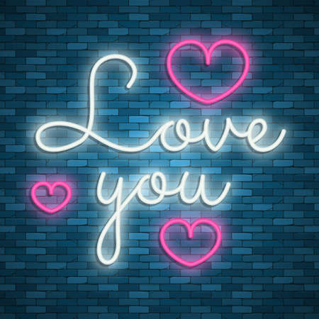 Valentines Day. Neon emblem. Bright signboard, light banner. Celebration. Heart with an arrow. Vector images