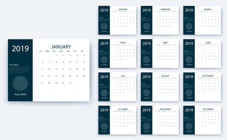calendrier simple 2019, Stock vector eps10. Conception de couleur