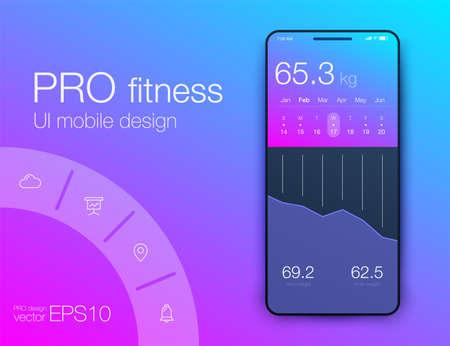 Fitness app. Ui ux design. UI design concept with web elements of workout application for mobile Illustration