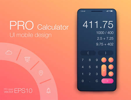 Smartphone with calculator. Ui design with colorfull graphics