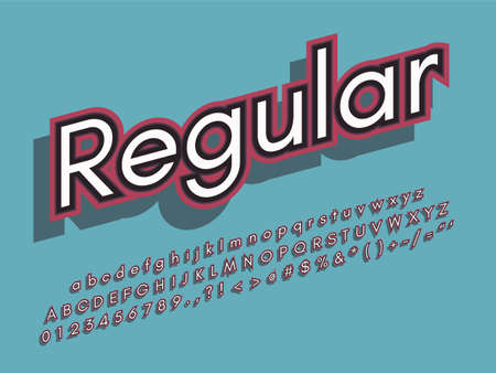 Retro color font and alphabet. Stock vector Illustration