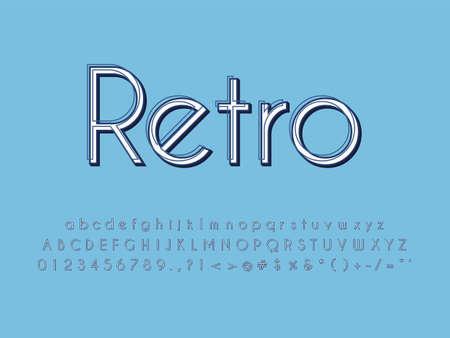 Retro color font and alphabet. Stock vector Ilustração