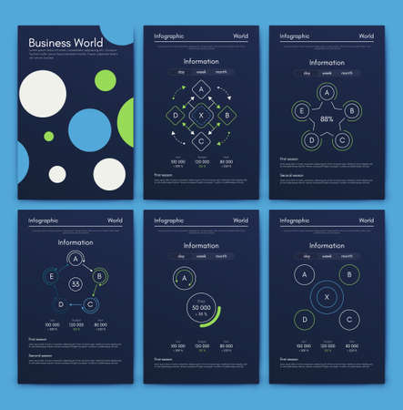 Modern infographic vector concept. Business graphics brochures. Used for workflow layout, diagram, number options, step up options, web template, infographics, websites, brochures, flyers and prints. Stockfoto - 129279152