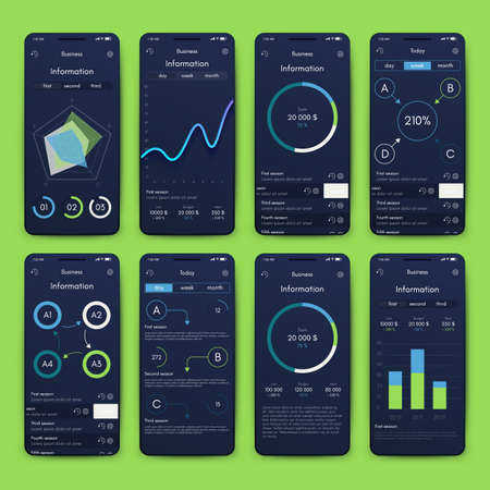 Different UI, UX, GUI screens and flat web icons for mobile apps, responsive website including Login, Create Account, Profile, Post, Inbox, Contact, Friends, Chat, Music, Setting and Calendar Screens. Stockfoto - 129279160