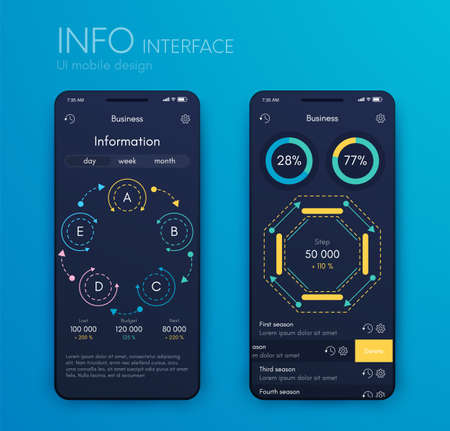 Mobile application interface. Ui design, vector illustration