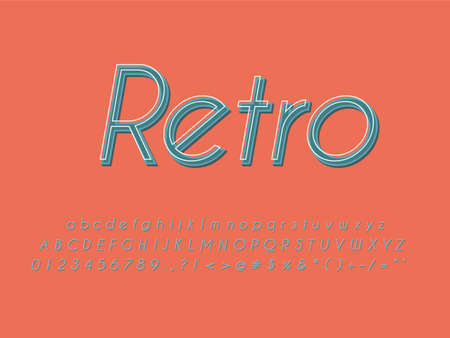 Retro font and alphabet. Stock vector illustration