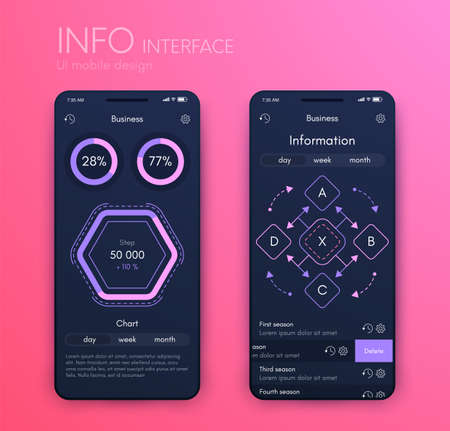 Vector graphics mobile infographics with three options. Template for creating mobile applications, workflow layout, diagram, banner, web design, business reports with 3 steps
