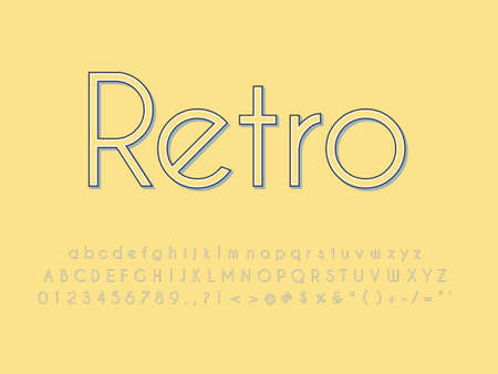 Retro font and alphabet. Stock vector illustration