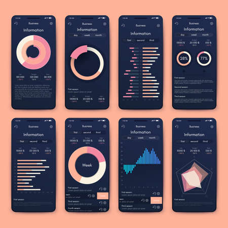 Different UI, UX, GUI screens and flat web icons for mobile apps
