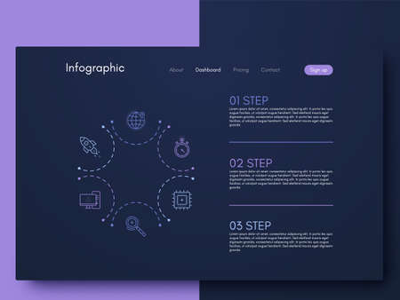 Vector graphics infographics with six options. Template for creating mobile applications, workflow layout, diagram, banner, web design, business reports with 6 steps