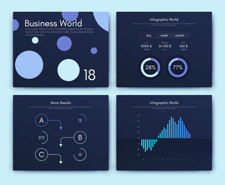 Infographic vector brochure elements for business illustration in modern style. Set infographics for web Ilustrace