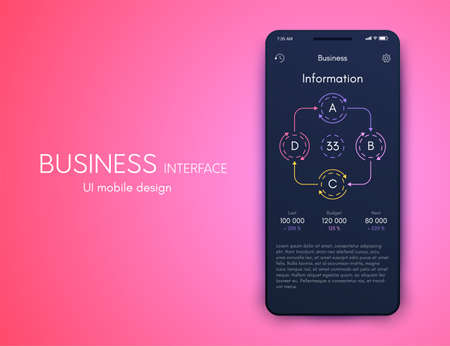 Vector graphics mobile infographics with three options. Template for creating mobile applications, workflow layout, diagram, banner, web design, business reports with 3 steps. Stock vector Archivio Fotografico - 131846382