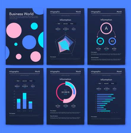 Moderne Infografik-Vektorelemente für Geschäftsbroschüren. Verwendung in Website, Unternehmensbroschüre, Werbung und Marketing. Kreisdiagramme, Liniendiagramme, Balkendiagramme und Zeitachsen.