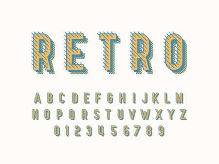 Logotype tendance élégant Retro Bar. Police colorée 3D. Lettres, chiffres et symboles de l'alphabet lumineux de style vintage Logo