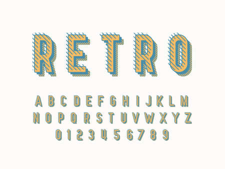 Stylish trendy logotype Retro Bar. 3D colorful Font. Vintage style bright Alphabet Letters, Numbers and Symbols Logo