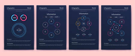 Modern infographic vector elements for business brochures. Use in website, corporate brochure, advertising and marketing. Pie charts, line graphs, bar graphs and timelines. Standard-Bild - 167123696