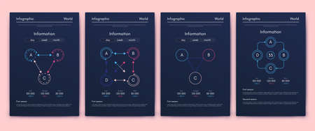 Modern infographic vector elements for business brochures. Use in website, corporate brochure, advertising and marketing. Pie charts, line graphs, bar graphs and timelines. Standard-Bild - 167123746