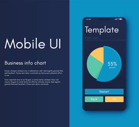 Vector graphics infographics with six options. Template for creating mobile applications, workflow layout, diagram, banner, web design, business reports with 6 steps. Stock vector