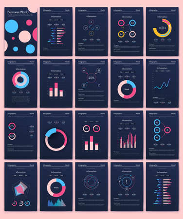 Modern infographic vector elements for business brochures. Use in website, corporate brochure, advertising and marketing. Pie charts, line graphs, bar graphs and timelines.