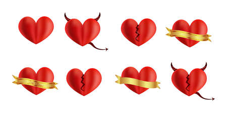 Illustration.Set of red realistic hearts.Cute color hearts.Red Valentine day collection.Heart with a gold ribbon, a broken heart, a heart with a devil.Illustration isolated on white.