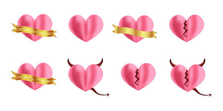 Illustration.Cute mesh pink hearts.Pink Valentine day collection, realistic style.Heart with ribbon, cracked heart, devil heart.Illustration isolated on white background. 일러스트