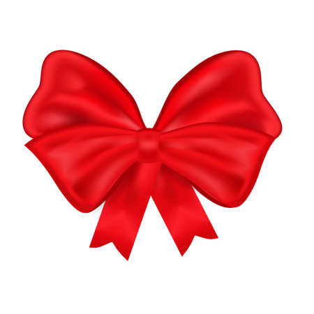 Realistic red bow isolated on white background. Ribbon. Vector illustration. an be used as a festive decor element, icon, element in web design.