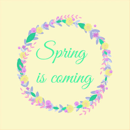 Word Spring with floral wreath ,branches,leaves, berries.For sticker,poster,cardSeasonal vector BackgroundGreen colors