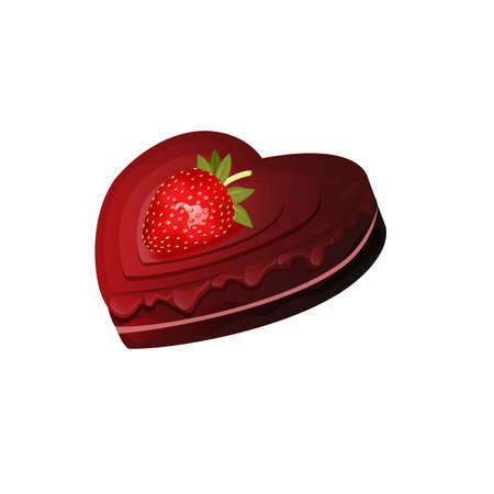 Vector illustration. Realistic heart-shaped chocolate layered cake with dripping chocolate and strawberries on top. Valentines cake. Can be used for web design, banners, web animation, icons. Isolated on white background.