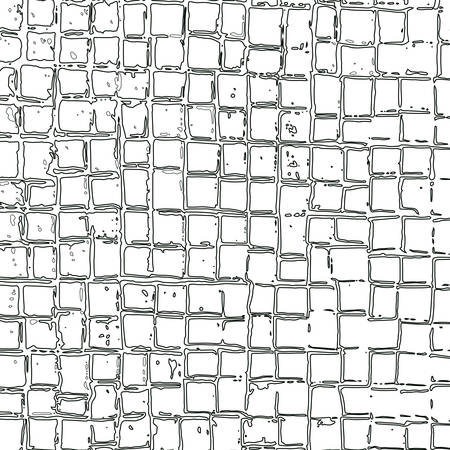 Abstract grid of repeating outline squares of different sizes and distances between cells. Vector maze. Illustration with hand-drawn grid squares for background, game, animation, web, print, ceramics, T shirt.