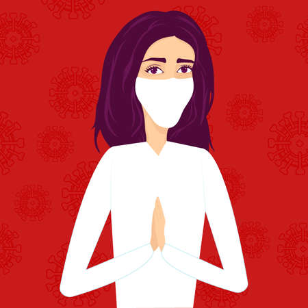 Vector illustration.The girl a medical worker in a protective white mask on her face folded her hands and prays to God for all people. Coronavirus concept. Can be used for banners, web design, posters