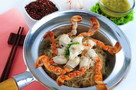 vermicelli: Baked crab with vermicelli and herb Stock Photo